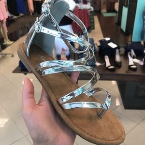 Shoes - Gladiator Sandals in Silver